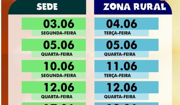 Imagens da Cronograma de marcações  do mês de Junho.