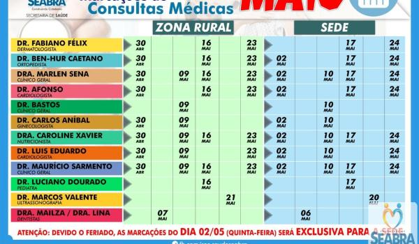 A Secretaria Municipal de Saúde divulga o cronograma de marcações de consultas médicas do mês de Maio.