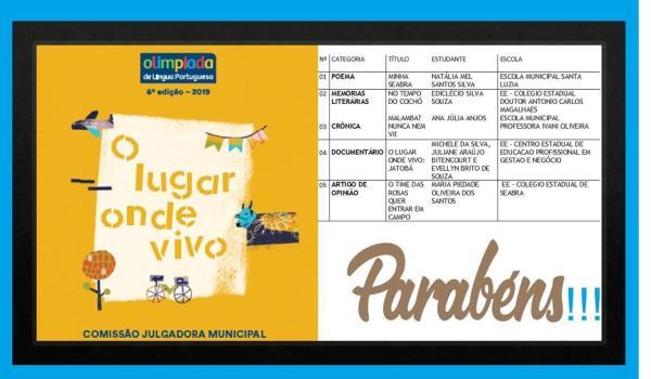 Alunas classificadas para a Etapa Estadual da Olimpíada de Língua Portuguesa