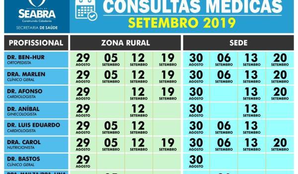 Cronograma de Marcações de Setembro de 2019