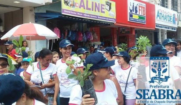 Seabra: Secretaria de Turismo e Meio Ambiente faz distribuição de mudas de árvores durante caminhada comemorativa do dia internacional da mulher.